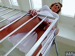 Busty blonde TS Delia DeLions 3some fucking with sexy female