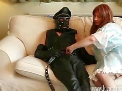Crossdresser Maid gives slow wank and sensual cock sucking blowjob
