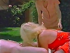 Vintage poolside threesome with a TS