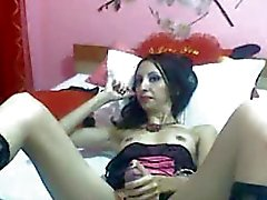 Slim Tranny Jerks Off Her Big Dick