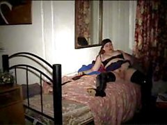 Chubby and mature tranny wanking it and a soldier fucking her