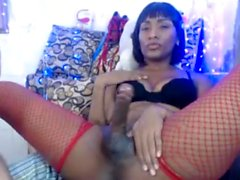 Ebony tranny in lingerie analsex with the other tgirl