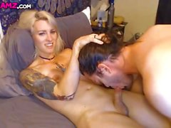 Blonde shemale and boyfriend blowjob handjob Cam