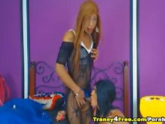 Hot Tranny Gets Ass Fucked and Sucks Cock