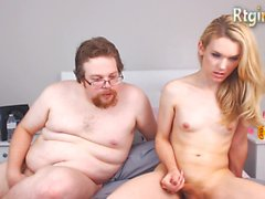 Super HD Beautiful blonde shemale fucks fat guy
