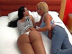 Sexy tranny gets head from her hot girlfriend in bed