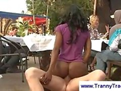 Ebony tranny in a public threesome