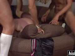 Naughty guy has fun with shemales