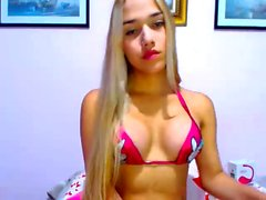 Hot blond amateur shemale ass toying on webcam