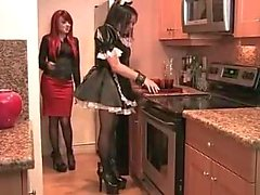 Sexy crossdressing maid ass fucked by strapon