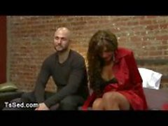 Baldheaded guy sucks dick to tanned huge breasts tranny Yasmin Lee