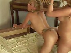 Hot Blonde riding shemale's dick