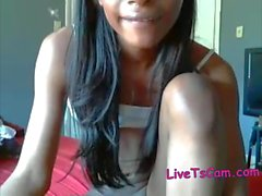 Gorgeous skinny ebony tgirl cums on webcam