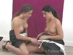 Sexy brunette chicks Jazmin and Caitlyn are crazy futanaria nuns