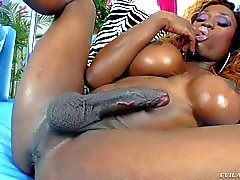 Big titted black Shemale Storm beats her meat