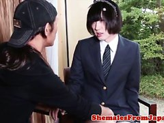 Uniformed newhalf amateur doggystyle fucked