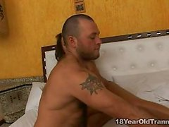 Teen bitch riding on a bed