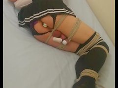 Tied up crossdresser just can't cum