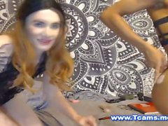Interracial Tranny Couple Teasing in Tongs