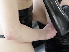Tgirl spitroasts and cums