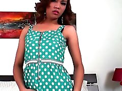 Redhead femboy in polka dot dress masturbates till cumshot