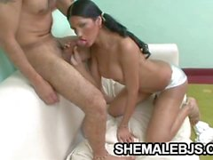 Paola - Pigtailed Shemale Showing Oral Skills