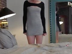 american slender tgirl with smallcock showing off her body
