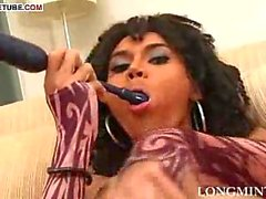 Tranny asshole stuffing with cock masturbation