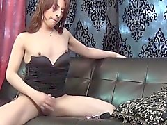 Freshfaced femboy jerks and shows ass off