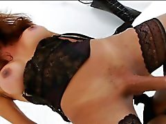 Busty tranny Susy Gomes in lingerie jerks off her fat dick