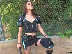 Tgirl Kimberly role plays as a horny cop