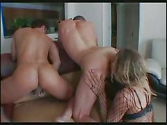 Crazy TS in fishnet drills 2 guys hard
