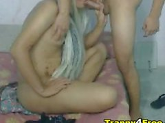 Tranny Couple Having Some Fun in Cam