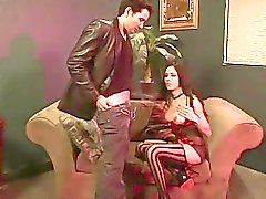 Tgirl Nelly rides on guy his hard dick