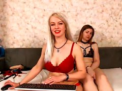Horny blonde tranny in lingerie on webcam