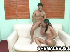 Hot shemale paola jerking herself as she sucks a big dick