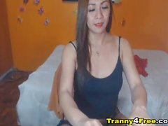 Beautiful Asian Tranny Pleasures Her Cock and Hole