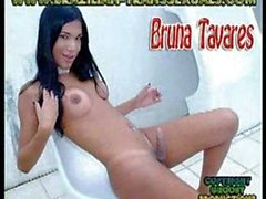 Bruna Tavares - a shemale masturbating with big orgasm and huge cumshot