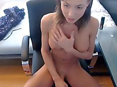Cute skinny tranny perfect boobs playing with shaved cock #3