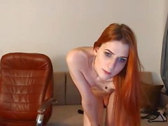 Sext redhead tranny TS small tits sexy little shaved cock