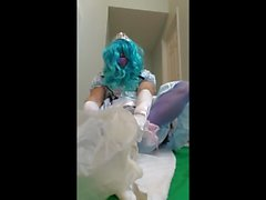 Sissy princess in pretty alice dress gets the ultimate diaper