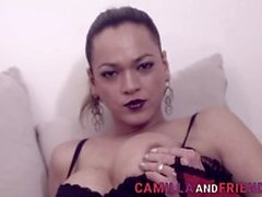 Naughty Cute Shemale Beauty Camilla Jolie Jerking Her Cock