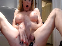 Busty Shemale on Solo Hardcore Dick Jerking