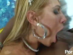 Blonde latin tranny loves a big black cock