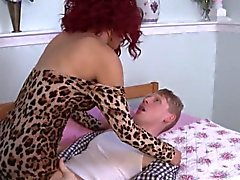 Busty redhead tgirl assfucked before cumming