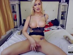 Blonde big tits shemale jerking off