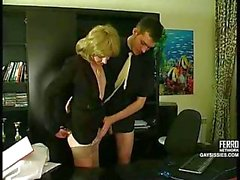 Office sex with a shy crossdresser