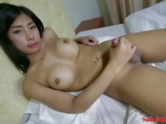 Hello LadyBoy - Young Thai ladyboy gets ass filled with big white cock