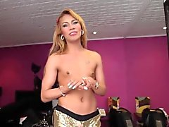 Petite latina tgirl makes her first porno