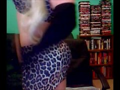 Blonde Chick In Leopard Printed Clothes Jerking Off